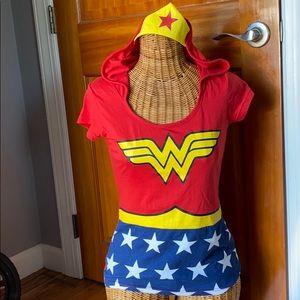 Wonder Woman shirt with hood and tiara